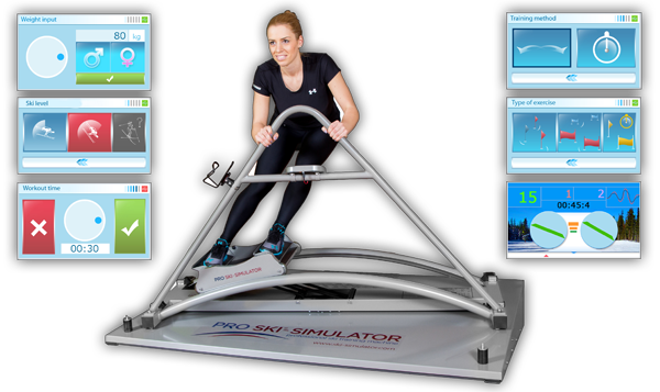 Lyžařský trenažer PRO SKI SIMULATOR PROFESSIONAL - s LCD nebo bez a s elektronickým vozíkem